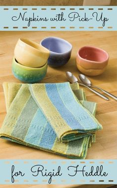 Free Pattern Alert! These cute napkins are a breath of fresh air woven on your #rigidheddle! The edging just takes 2 pick-up sticks--give it a try today!