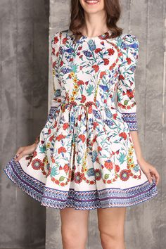 Liya's Closet Floral Flower Print A Line Short Dress | Mini Dresses at DEZZAL