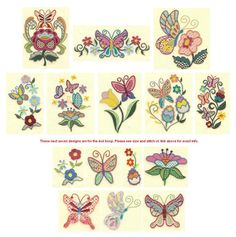 Jacobean Butterfly Machine Embroidery Designs | Designs by JuJu