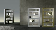 caffè glossy lacquered glass and bianco latte lacquered aluminium; a total white proposal; a version in ocra glossy lacquered glass and bianco latte lacquered aluminium.