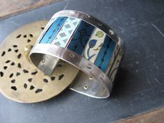 Mixed Blue and Green Tins Cuff-Industrial Style by eaststreettins