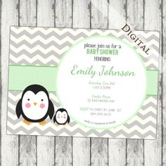 Hey, I found this really awesome Etsy listing at http://www.etsy.com/listing/158227569/chevron-baby-shower-invitation-penguin