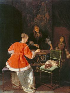 """The Backgammon Players"" (ca.1667/69) by Jacob Ochtervelt"