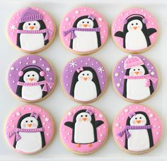 Pink and Purple Penguin Cookies – Glorious Treats