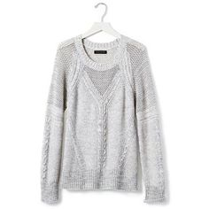 Banana Republic Womens Mesh Mixed Knit Pullover (600 SEK) ❤ liked on Polyvore featuring tops, sweaters, white pullover sweater, pullover sweater, cable knit pullover sweater, white long sleeve sweater and banana republic sweaters
