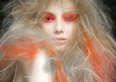 orange eye makeup, orange hair