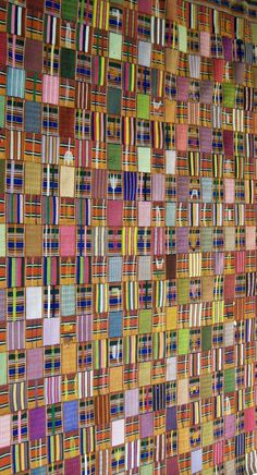 Africa   Kente Wrapper. Ewe people.  1960/70s.  Cotton with cotton supplementary weft.