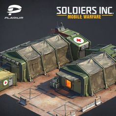 """I want to show you some buldings made for our recent Plarium mobile game """"Soldiers inc. Mobile Warfare"""" All high poly and low poly models were made in Maya, rendered with Vray and textures made in Photoshop. Military Diorama, Military Art, Avengers Headquarters, Fallout 4 Settlement Ideas, Post Apocalyptic City, Pokemon Movies, Environment Concept Art, Environment Design, Architecture Concept Drawings"""