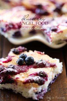 This light and airy blueberry angel food sheet cake gets pops of color from the bursting blueberries.
