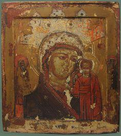 Старинная Икона «Богоматерь Казанская» Начало XVIIIв., рис.1