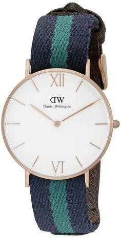 d07629f7d3b0b Daniel Wellington Unisex 0553DW Grace Warwick Rose Gold-Tone Stainless  Steel Watch with Striped Nylon