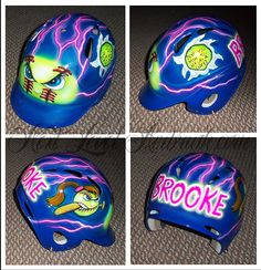- Helmet Designs - This is a one size fits all batting helmet with an angry glowing softball theme . This is a one si. Softball Helmet, Softball Gifts, Cheerleading Gifts, Basketball Gifts, Softball Mom, Softball Stuff, Baseball Crafts, Baseball Party, Softball Hairstyles