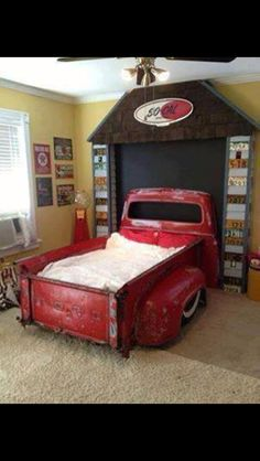 Truck bed for boys room... Seems a little unsafe, but looks awesome.