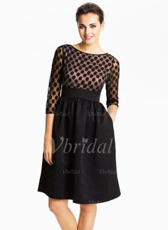Cocktail Dresses - $112.89 - A-Line/Princess Scoop Neck Knee-Length Charmeuse Lace Cocktail Dress (01605019619)