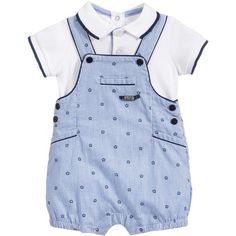 Mayoral Newborn Baby Boys 2 Piece Polo Shirt Dungarees Set ($100) ❤ liked on Polyvore featuring baby clothes