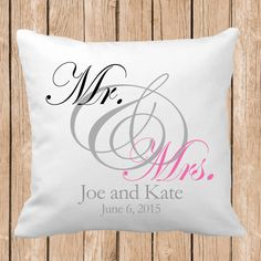 Mr. and Mrs. pillow with names and date Throw Pillow, Choose Colors, Personalized Pillow, Custom Throw Pillow