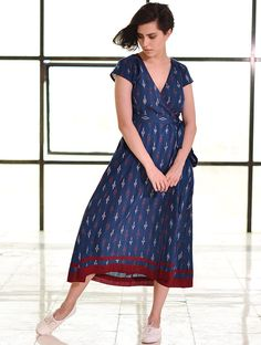 Buy Blue Tie Up Waist Ikat Handloom Dress Cotton Apparel Tops & Dresses Whimsical Weaves Handwoven Online at Jaypore.com