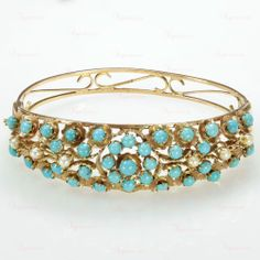 Retro 14k Yellow Gold Persian Turquoise  Pearl Bangle Bracelet #BangleBracelets