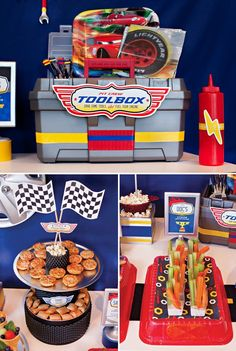 toolbox of utensils for a disney cars party
