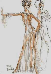 """Bob Mackie sketch for Mitzi Gaynor - his first """"nude"""" dress!"""