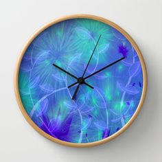 Dancing Flower Garden Abstract  Wall Clock by Judy Palkimas - $30.00