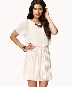 Accordion Pleated Georgette Dress [Cream] - $19.80 {Forever 21}