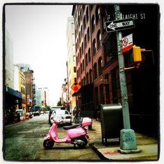 Pink Vespa, NYC style!