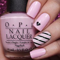 Cute and easy blush pink and black nails today! These are similar to my aqua and gold striped nails but I wanted to see how they looked in these colors Tutorial will be up today! I used: @opi_products Alpine Snow, Mod About You, and Black Onyx @bornprettyreview Striping Tape (10% off @bornprettystore with code ARZG10) @sechenails Seche Vite All polishes are from @hbbeautybar  Use my code ✨nailsbycambria✨ for 15% off on hbbeautybar.com!