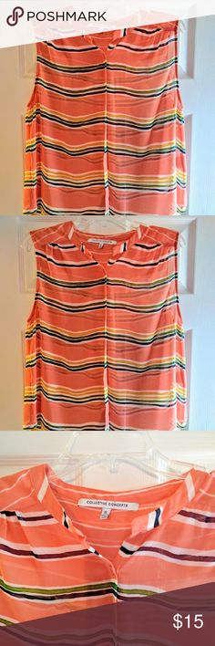 Collective Concepts Tangerine Striped Shell Collective Concepts sheer tangerine striped shell with button detail. Looks great layered with a blazer, jacket, or cardigan.  It's sheer so you'll want to wear a camisole or tank underneath. Very flattering cut. Looks great on! Purchased from Stitch-Fix and worn only once. Tops Blouses