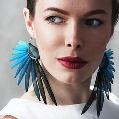 Earrings Wings  - Mesh Earrings - Contemporary Jewelry- Big Earrings- Piercing - Long earrings