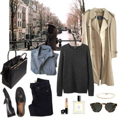 Untitled #22 by cloudeprudis featuring round glasses ❤ liked on PolyvoreA P C long shirt, €94 / Burberry trench coat, €120 / True religion jeans, €62 / Black shoes, €500 / Fendi tote bag, €2.080 / BonBon Boutique gold jewelry / Illesteva round glasses, €145 / Chanel lipstick, €32 / Eight Bob perfume fragrance, €180