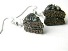 Realistic chocolate cake earrings by DeMatteoART on Etsy, $15.00