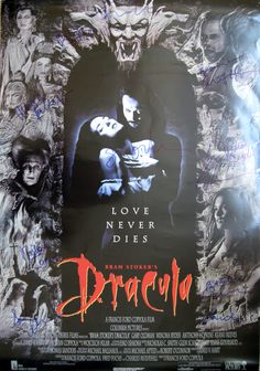 DRACULA original movie poster cast signed by Gary Oldman, Winona Ryder, Anthony Hopkins, Keanu Reeves, Richard E. Grant, Cary Elwes, Bill Campbell, Sadie Frost, Tom Waits, Monica Bellucci & Francis Ford Coppola.