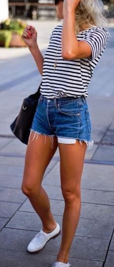 Cute black & white shirt tucked in some high waisted shorts
