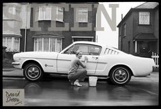 TWIGGY, OUTSIDE HER PARENTS HOME, CLEANING HER MUSTANG FASTBACK, LONDON, 1967.  AVAILABLE FOR PURCHASE AT: http://davidsteen.co.uk/248#