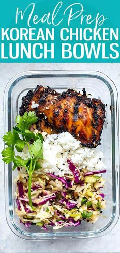 meals These Korean Chicken Meal Prep Bowls are a healthy make ahead lunch idea made up. These Korean Chicken Meal Prep Bowls are a healthy make ahead lunch idea made up of chicken thighs, Asian coleslaw and jasmine rice! Lunch Meal Prep, Meal Prep Bowls, Healthy Meal Prep, Healthy Lunches, Healthy Foods, Chicken Meal Prep, Chicken Recipes, Healthy Chicken, Cheesy Chicken
