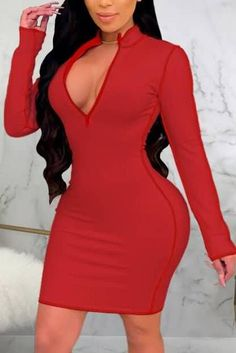 Blush Dresses, Family Outfits, Dress Online, Contrast, Bodycon Dress, V Neck, Zipper, Chic, Spring
