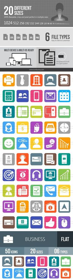 50 Business Flat Round Corner Icons