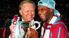 Big Fat Ron celebrates Villa's famous League Cup win over Man U with Dalian Atkinson.