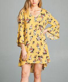 Mustard Floral Bell-Sleeve Hi-Low Dress