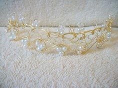 Wire Wrapped Handmade Cluster Gold Pearl Crystals Bride Tiara (Hairband) Wire Wrapped Bride Hair Accessories Bride Headband Tiara Crown
