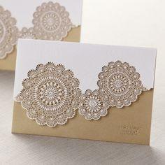 Tri-Fold Laser Cut Gold Wedding Invitations