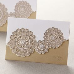 Tri-Fold Laser Cut Gold Wedding Invitations