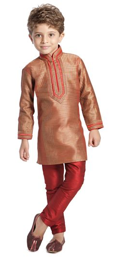201149: Red and Maroon color family stitched Boy Kurta Pyjama .