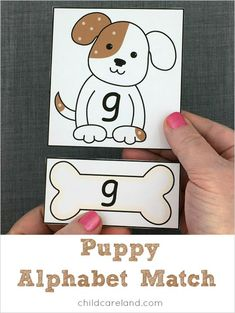 Make one special photo charms for your pets, compatible with your Pandora bracelets. Puppy match for letter recognition and fine motor development. Creative Curriculum Preschool, Preschool Literacy, Preschool Themes, Toddler Preschool, Preschool Activities, Alphabet Activities, Classroom Activities, Petite Section, Fine Motor