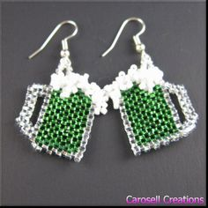 St Patricks Day Green Beer Beadwork Dangle Seed Bead Earrings TAGS - Jewelry, Earrings, Beaded, carosell creations, seed bead earring, beadwork, beaded, seed beaded, green beer, st patricks day, irish, beer, st patrick, green, handmade, accessories, women, ladies, luck