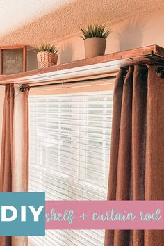 DIY window curtain rod shelf combo is a timeless piece of decor, perfect for any room. Simple and functional window decor this DIY window curtain rod shelf combo is a timeless piece of decor used in my office. Window Curtain Rods, Wood Curtain, Decorative Curtain Rods, Curtain Ideas, The Curtain, Wood Valance, Curtain Room, Curtain Styles, Window Shelves
