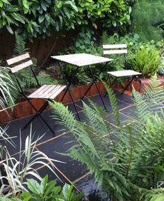 Morning Coffee Terrace Black limestone paving & lush planting to catch to the morning sun Limestone Paving, Morning Coffee, Morning Sun, Bespoke Design, Lush, Terrace, Garden Design, Landscape, Planting
