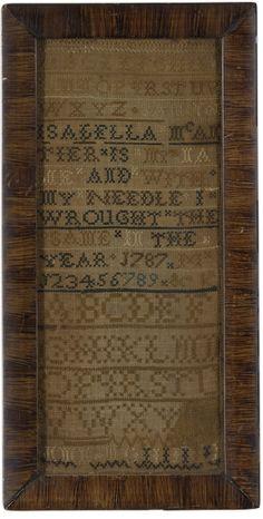 Isabella McAntier - 1787 - New England. Silk on linen.