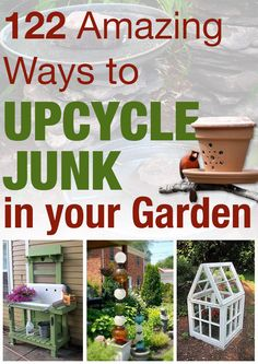 122 amazing ways to upcycle junk in your garden. Awesome ideas! I love the old lamps made into posts & gazebo roof.
